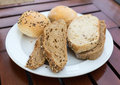 Various types of bread on a plate Royalty Free Stock Image