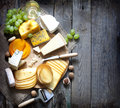 Various types of cheese with empty space background concept Stock Photography