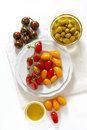 Various types of cherry tomatoes: red, yellow and black Sicilian Royalty Free Stock Photo