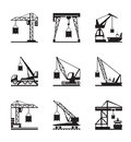 Various types of cranes vector illustration Royalty Free Stock Images