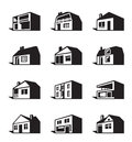 Various types of houses vector illustration Stock Photography