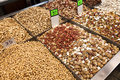 Various types of pulses nuts displayed for sale in a middle eastern market located in the old town of acco israel Royalty Free Stock Photography