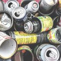 Various types of tin cans to be recycled Royalty Free Stock Photo