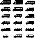 Various van silhouettes vector pack Royalty Free Stock Photos