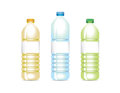 Various vector plastic bottles set of oil water and green tea Stock Photography