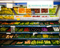 Various vegetables and fruits on display in grocery store Royalty Free Stock Photo