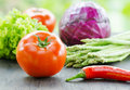 Various vegetables on wooden table Royalty Free Stock Photos