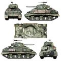 Various views of a Vintage American World War 2 allied armored medium combat tank on a isolated white background.