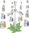 various wind turbines isolated on Royalty Free Stock Photo