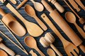 Various wooden kitchen utensils Royalty Free Stock Photo