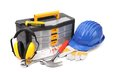 Various worker and safety equipment. Royalty Free Stock Photo