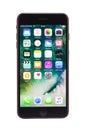 Varna, Bulgaria - December, 04, 2016: Iphone 7 plus black isolated