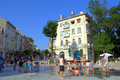 Varna city renovated main street just and children discover the new dry fountain bulgaria Stock Image