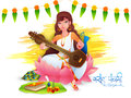 Vasant panchami celebration with goddess saraswati hindu community festival of knowledge holding musical instrument veena Royalty Free Stock Photography