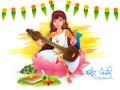 Vasant panchami celebration with goddess saraswati hindu community festival of knowledge holding musical instrument veena Royalty Free Stock Photography