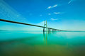 Vasco da gama bridge lisbon in portugal Stock Photo