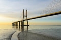 Vasco da Gama bridge at sunrise, Lisbon Stock Image
