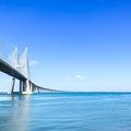 Vasco da Gama bridge on Tagus River. Lisbon, Portugal, Europe. Royalty Free Stock Photography