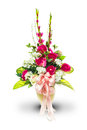 Vase and bunch of flowers with clipping path in white background Stock Photo