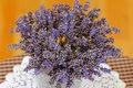 A vase of dried lavender flowers to decorate the room Royalty Free Stock Photos
