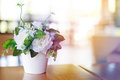 Vase of flower on table Royalty Free Stock Photo