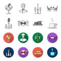 Vase with a flower, table setting, fried chicken with garnish, a cup of coffee.Restaurant set collection icons in