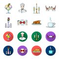 Vase with a flower, table setting, fried chicken with garnish, a cup of coffee.Restaurant set collection icons in Royalty Free Stock Photo