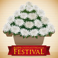 Vase Full of White Chrysanthemum Flowers for Festival, Vector Illustration Royalty Free Stock Photo