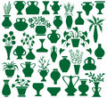 Vase image of green icons vases and flowers on a white background Royalty Free Stock Images