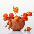 Vase with orange flowers Royalty Free Stock Photo