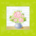 Vase of rose flowers,vector Stock Photos