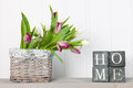Vase tulips at home Royalty Free Stock Photo