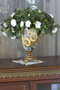 Vase with white flowers in the hallway Stock Image