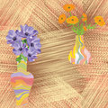 Vases with flowers on grunge striped background Royalty Free Stock Photo