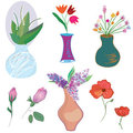 Vases and flowers set Stock Photos