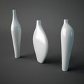Vases illustration of three ceramic on gray background Royalty Free Stock Photography