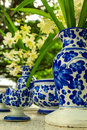 Vases and orchids designs of to put blue orchid Stock Images