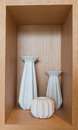 Vases are in showcase white wood Royalty Free Stock Image