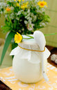 Vaso coperto con un certo prodotto lattiero-caseario Fotografia Stock Libera da Diritti