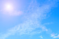 The vast blue sky and clouds sky with sunshine. Royalty Free Stock Photo