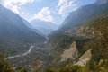 Vast mountain valley in nepalese himalayas Stock Images