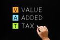 VAT - Value Added Tax On Blackboard Royalty Free Stock Photo