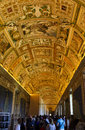 Vatican city carpet ceiling beautiful packed with tourists Stock Photography