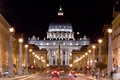 Vatican City. St. Peter's Basilica at night. Royalty Free Stock Photo