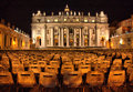 Vatican by night view on the saint peter in rome during the Royalty Free Stock Images