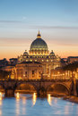Vatican rome during sunset with night colors reflections in the river Stock Photo
