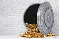 Vault open a bank with a bunch of gold coins Stock Photos