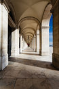 Vaulted ceiling arcade palace Lisbon Portugal Stock Photo