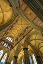 Vaulted ceiling the and pillars of salisbury cathedral england Royalty Free Stock Image