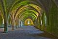Vaulted ceilings in Fountains Abbey Stock Photo